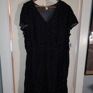 Ruffle sleeve black polka dot dress